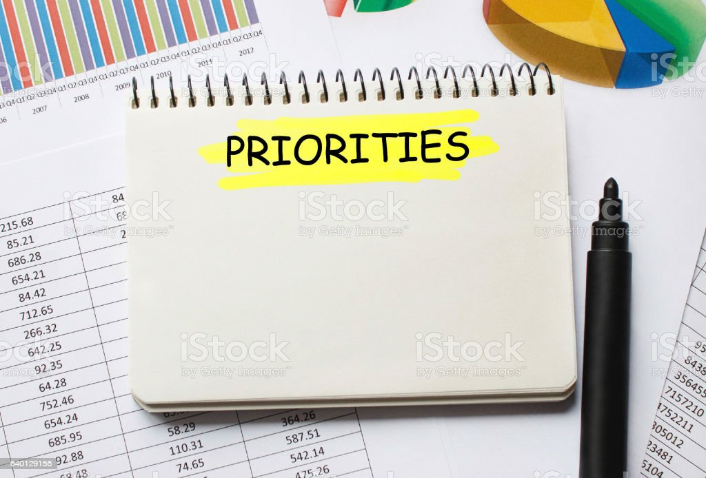 Notebook with Toolls and Notes about Priorities stock photo