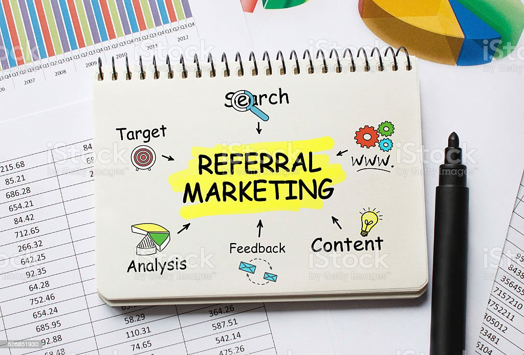 Notebook with Toolls and Notes about Referral Marketing stock photo