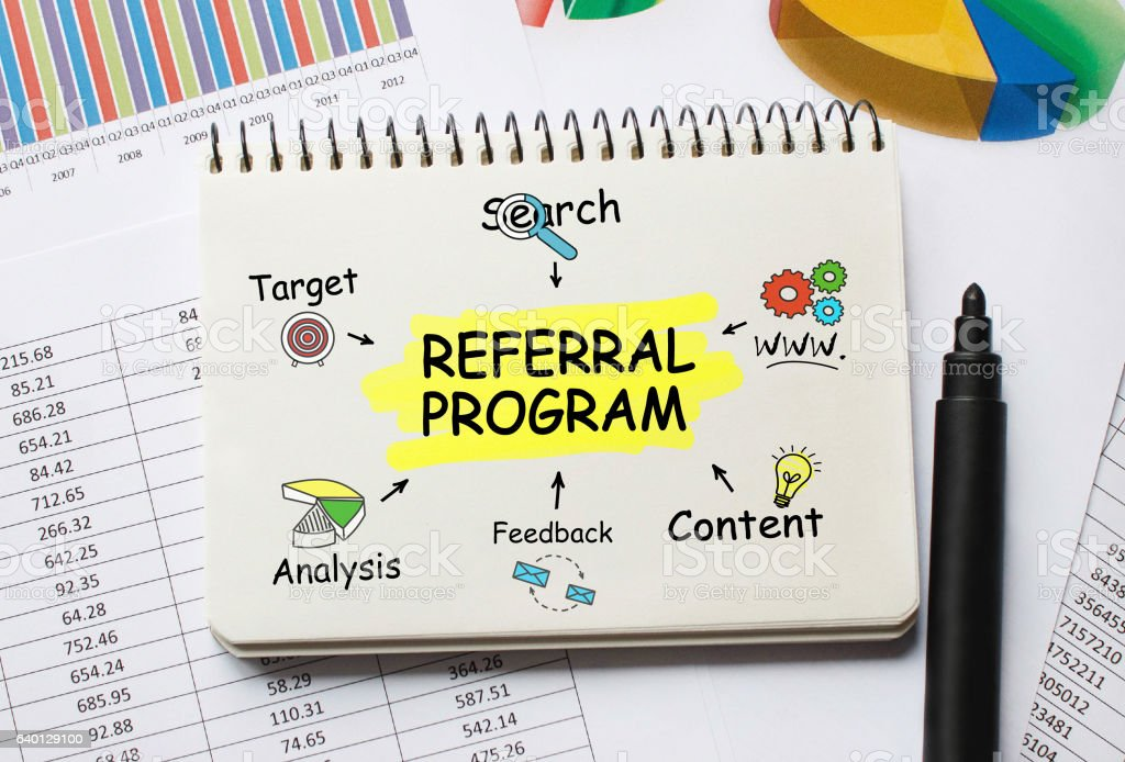 Notebook with Toolls and Notes about Referral Program stock photo