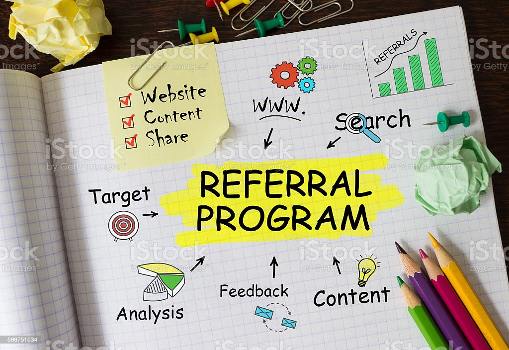Notebook with Toolls and Notes about Referral Program,concept stock photo