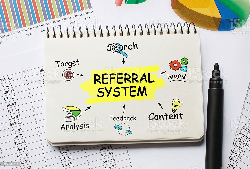 Notebook with Toolls and Notes about Referral System stock photo