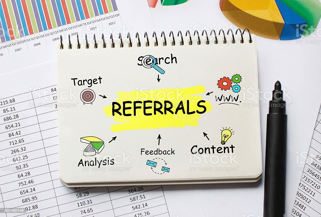 Notebook with Toolls and Notes about Referrals stock photo