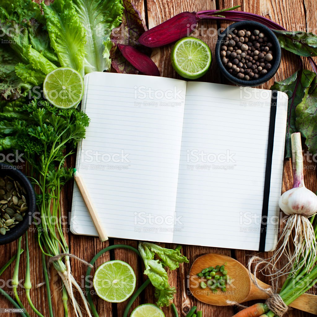 Notebook with vegetables stock photo