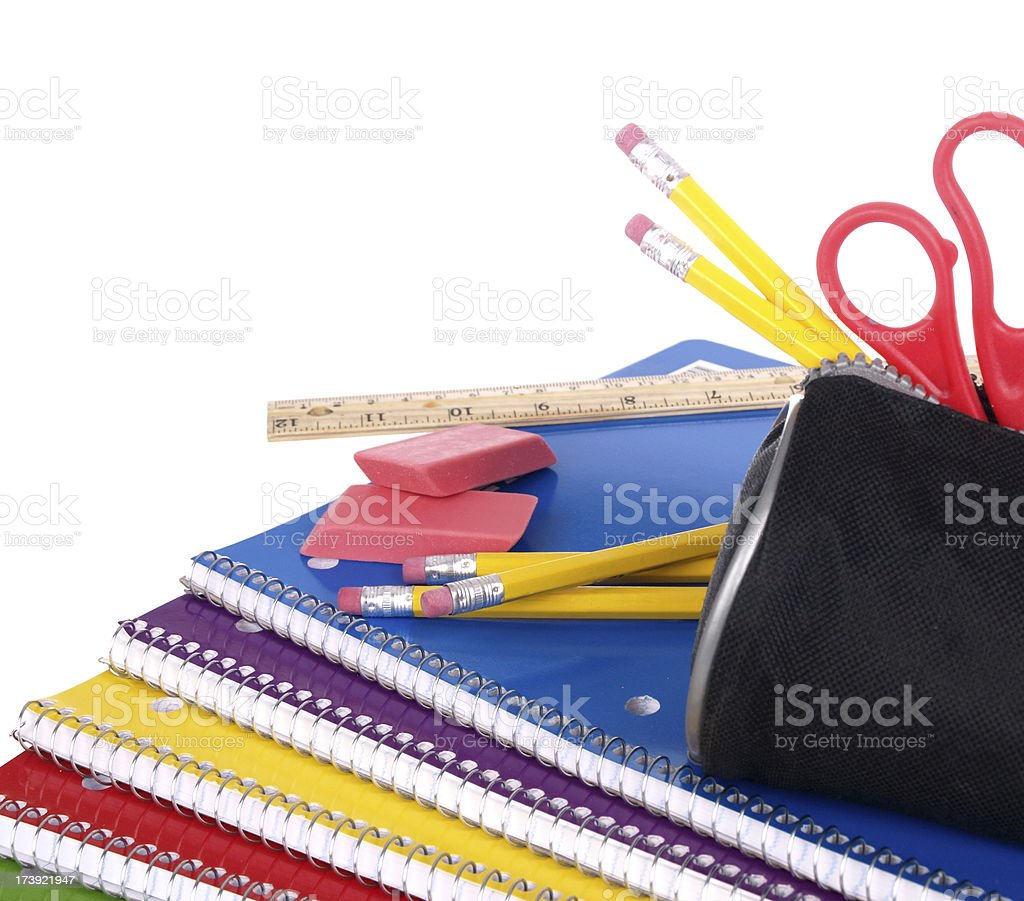 Notebooks and Other School Supplies royalty-free stock photo