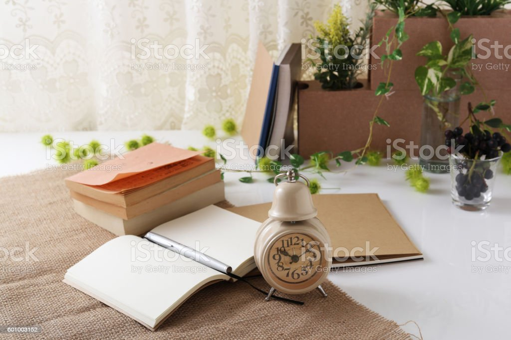 Notebooks and pen stock photo