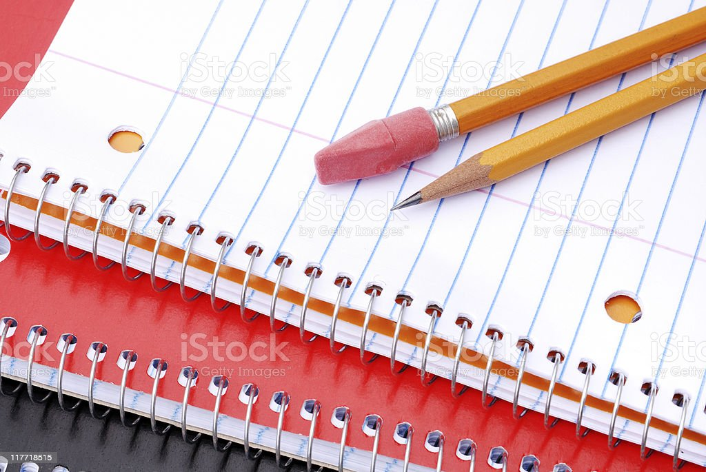 Notebooks and pencils royalty-free stock photo
