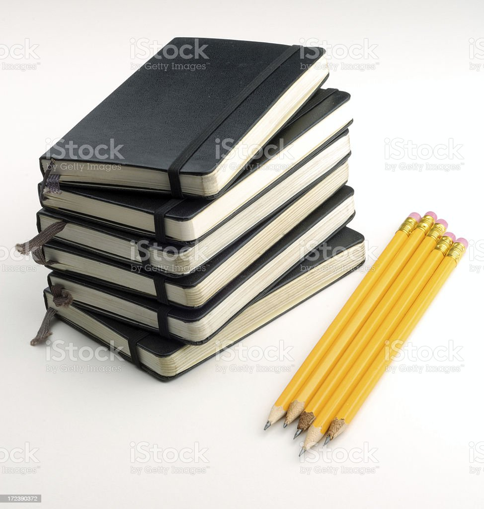 Notebooks and Pencils stock photo