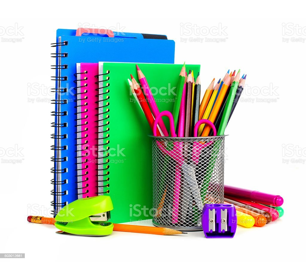Notebooks and school supplies stock photo