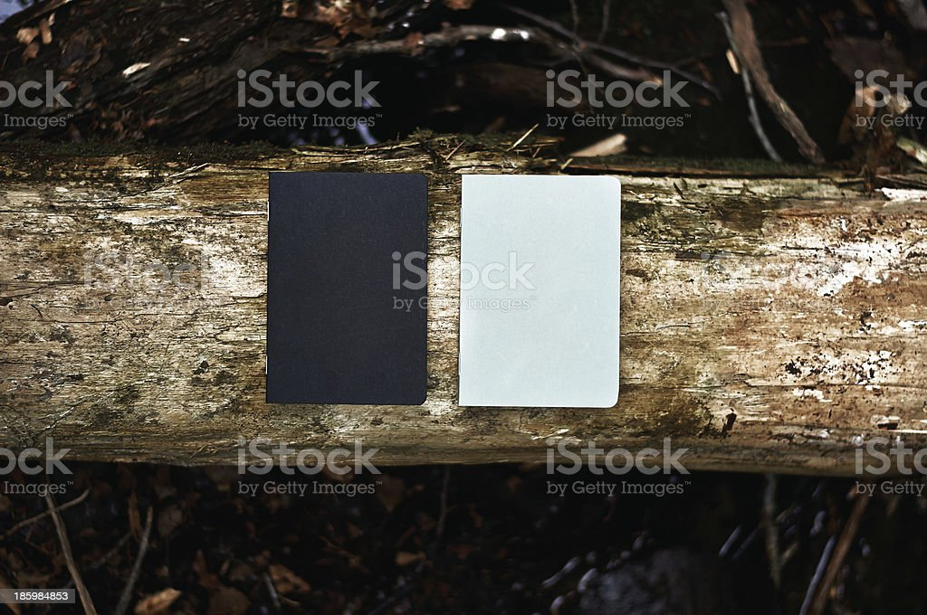Notebooks on wood royalty-free stock photo