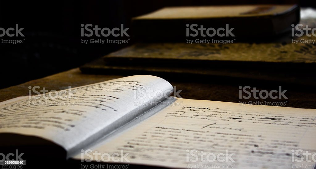 notebooks that were used at school stock photo
