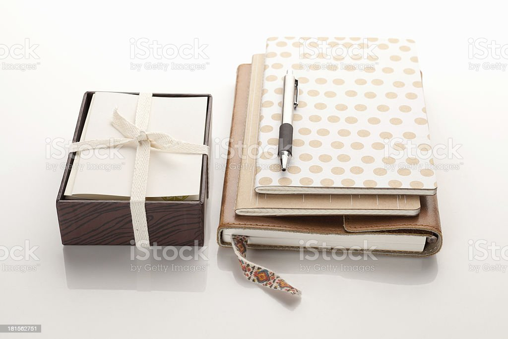 notebooks with pen and notecards royalty-free stock photo