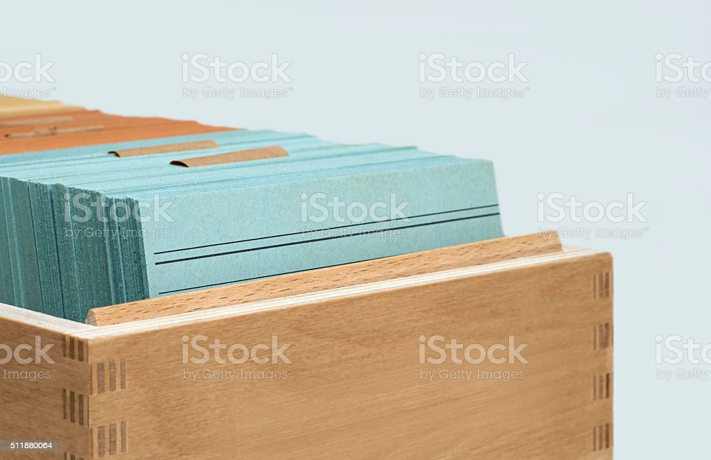 Notecards in Wooden Box stock photo