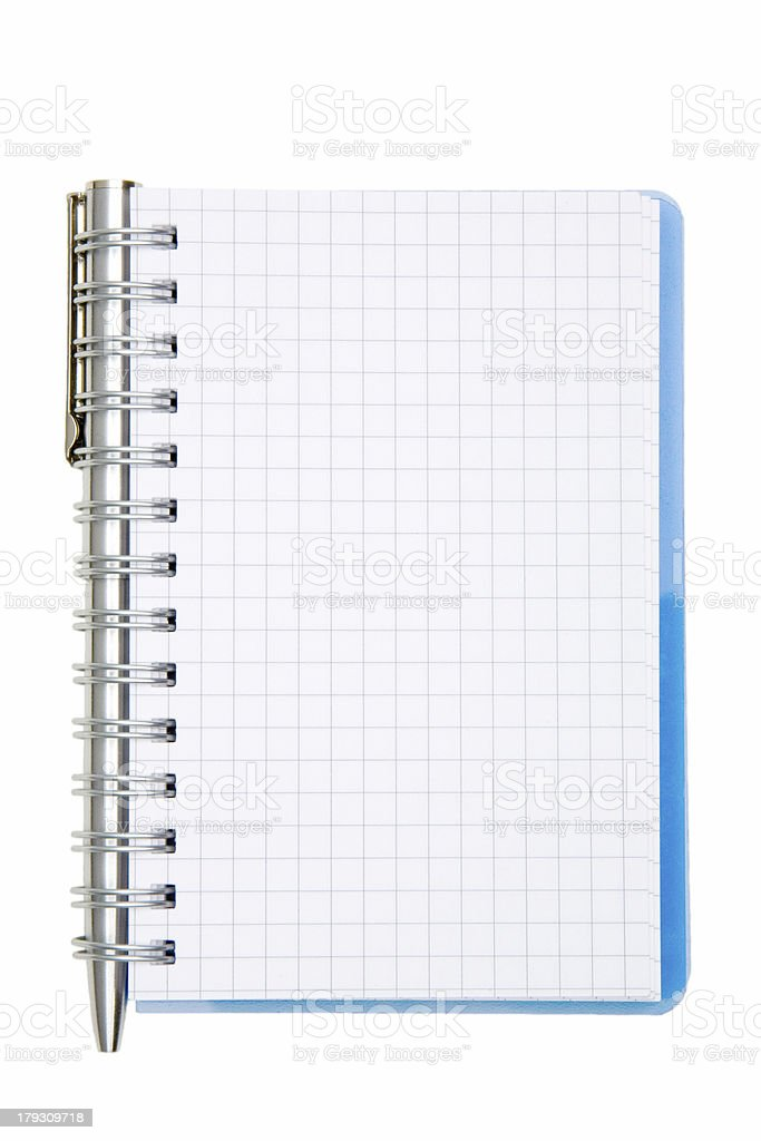 notepad and pen, isolated on white royalty-free stock photo