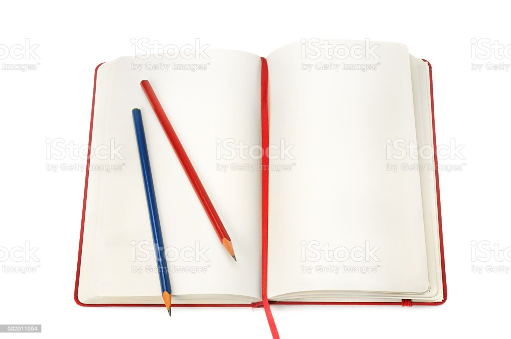 notepad and pencils stock photo