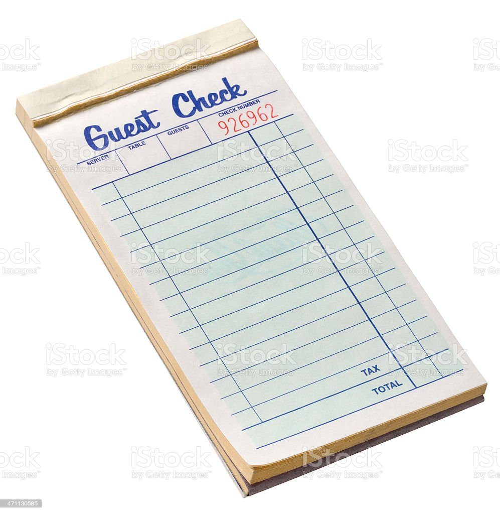 A notepad for a restaurant waiter stock photo