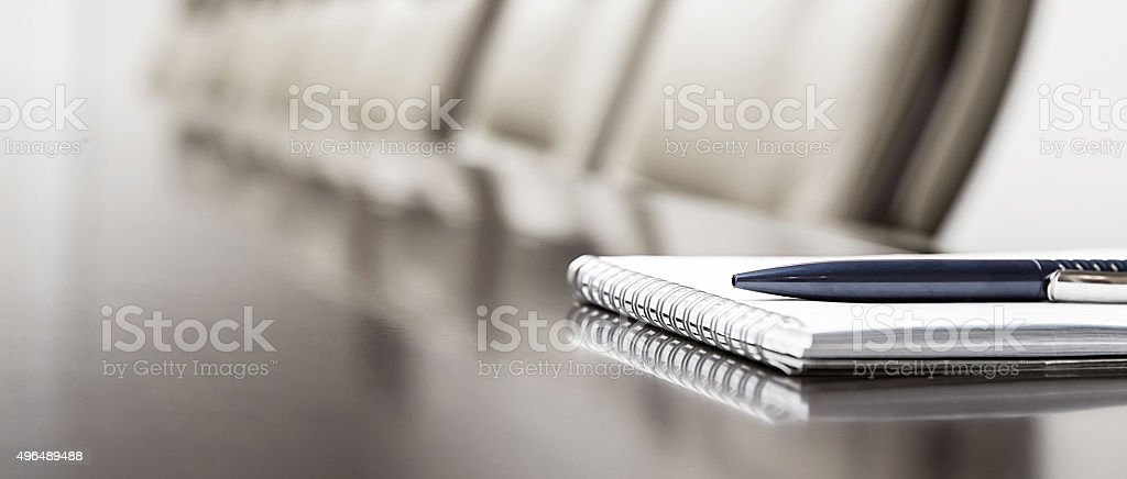 notepad on a table stock photo