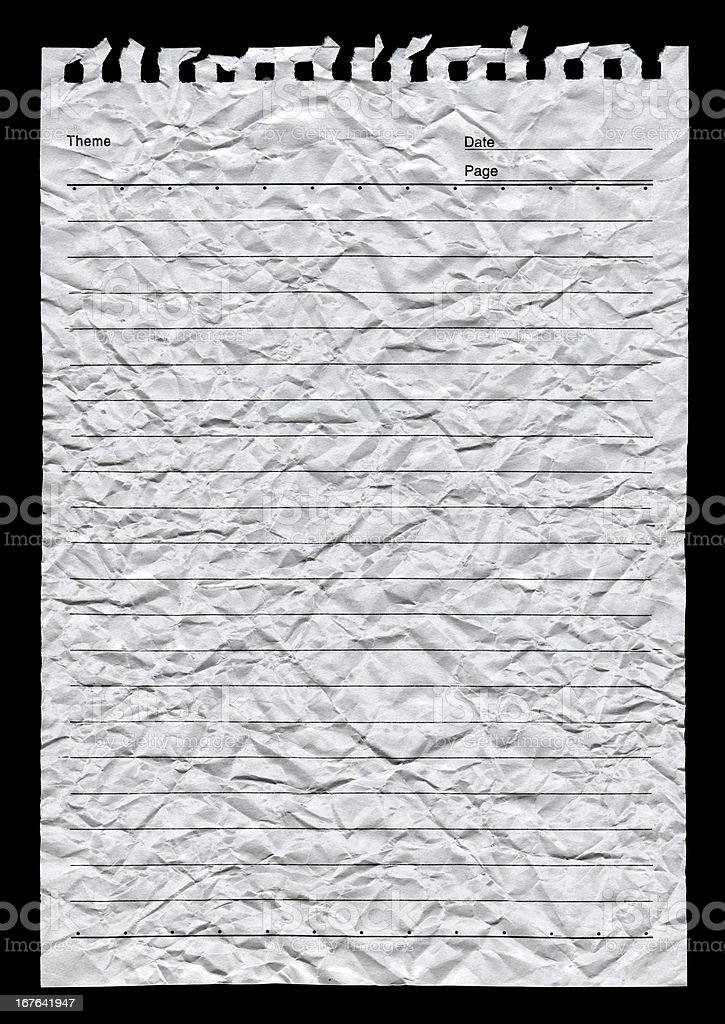 Notepad page paper textured background isolated royalty-free stock photo