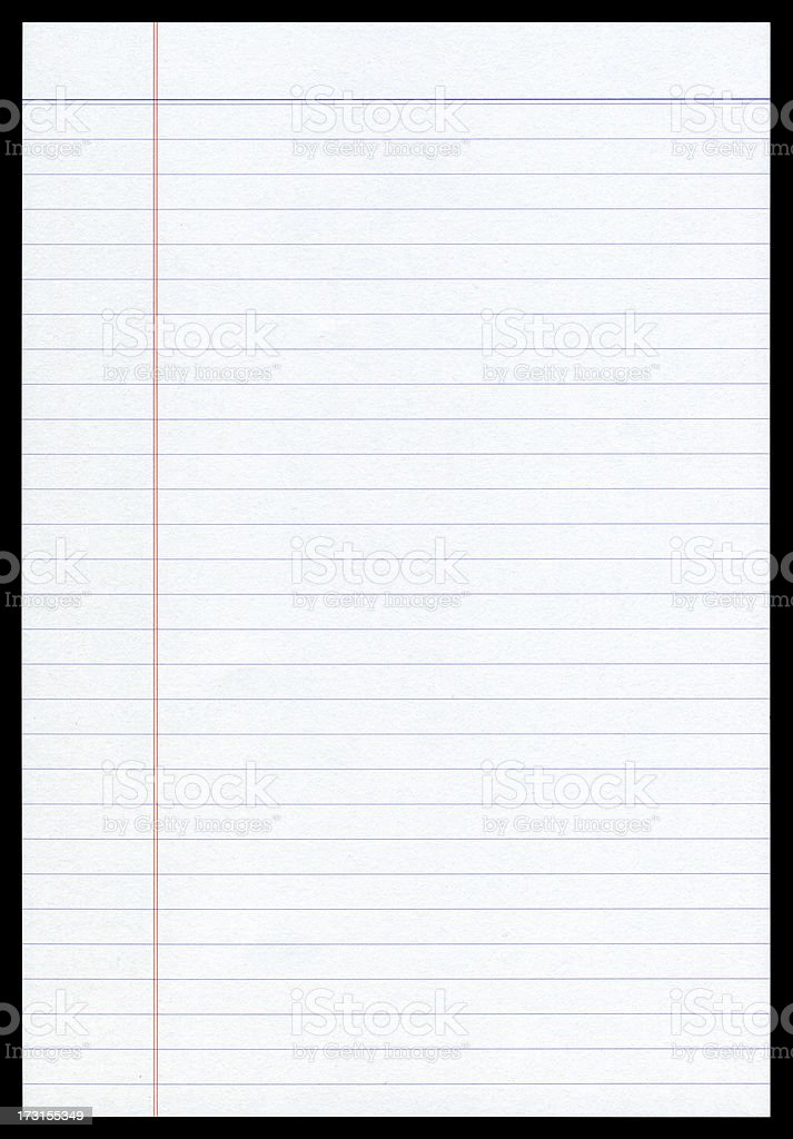 Notepad page paper textured background isolated stock photo