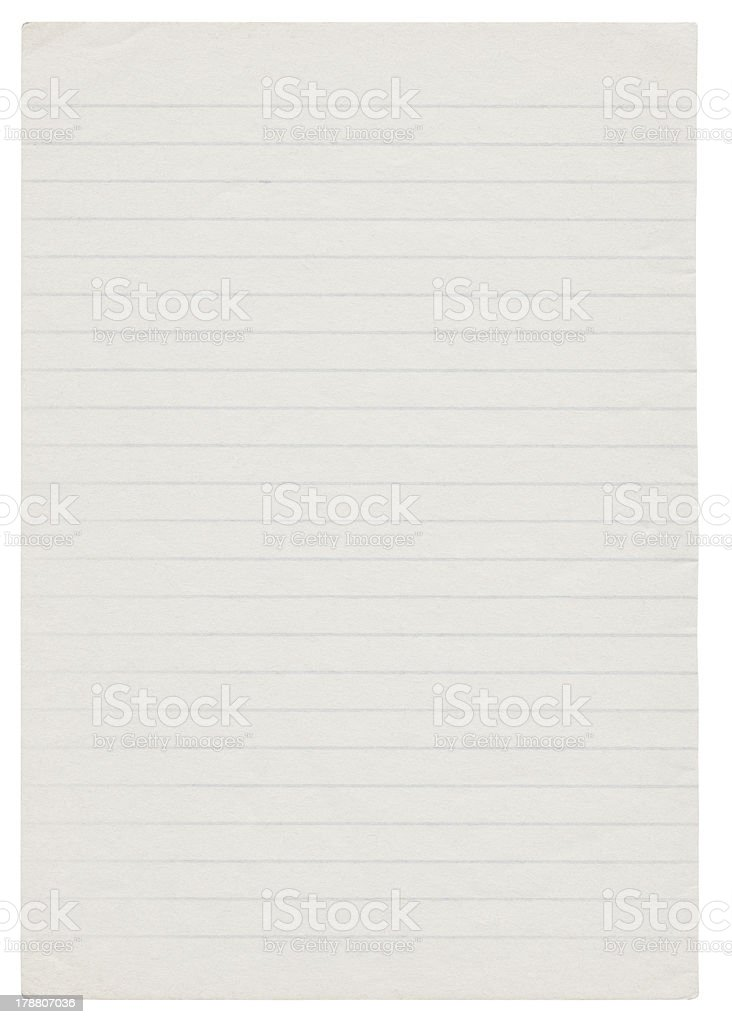 Notepad page (Clipping path included) royalty-free stock photo