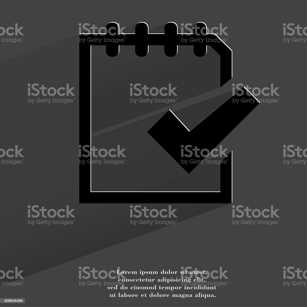 Notepad paper Documents. Flat modern web button with long shadow stock photo
