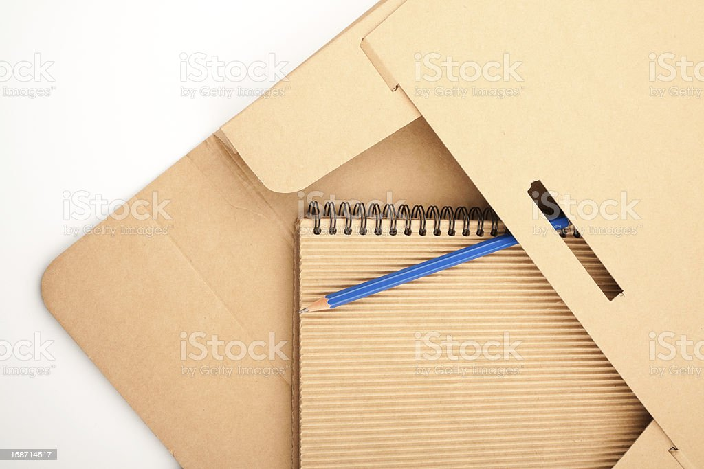 Notepad, pencil and paper folder royalty-free stock photo