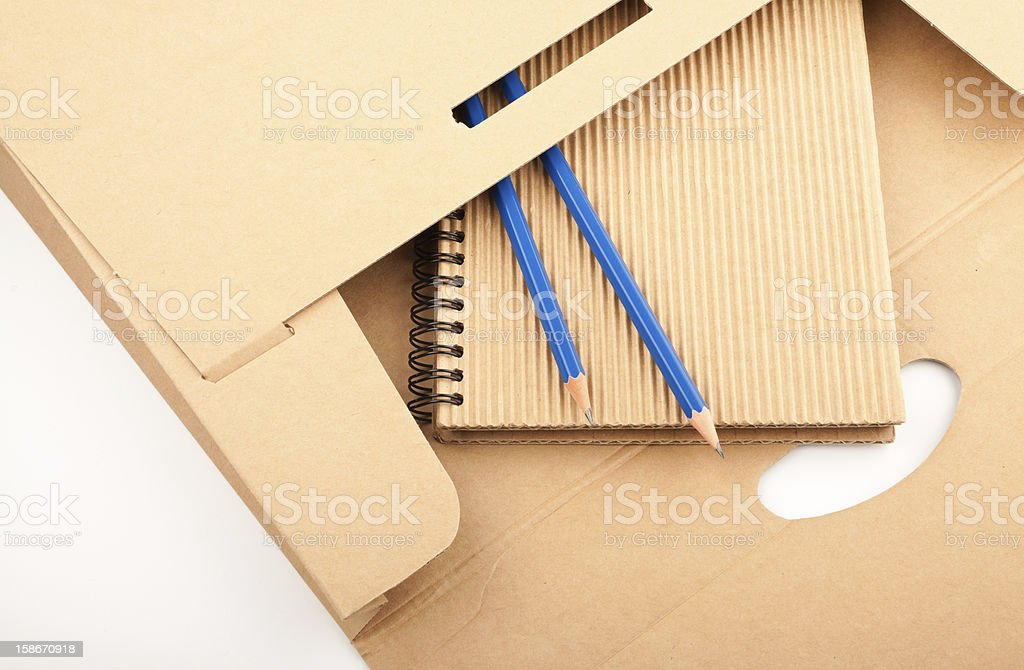 Notepad, pencils and paper folder royalty-free stock photo