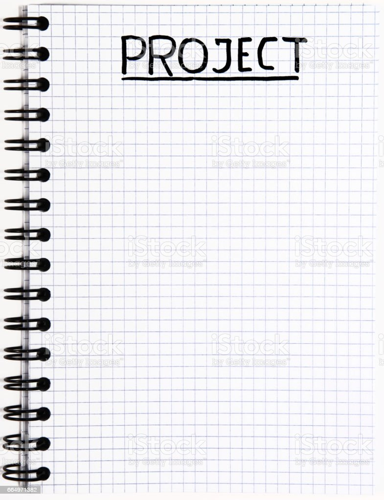 Notepad with a Project writing stock photo