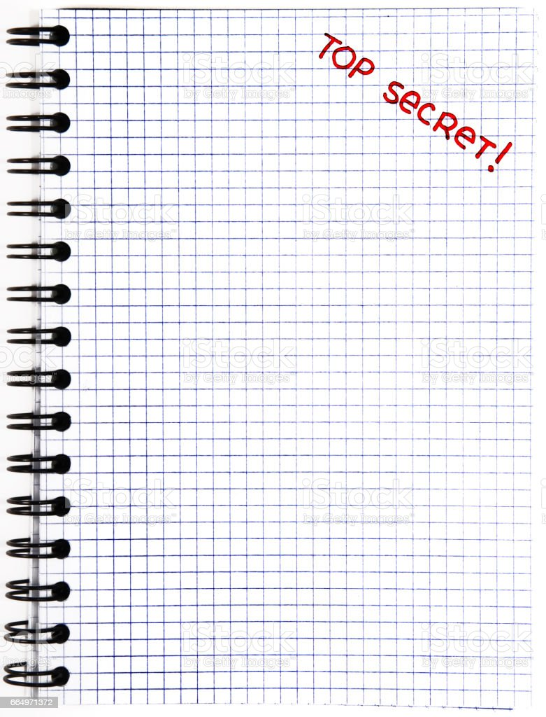 Notepad with a Top Secret mark stock photo