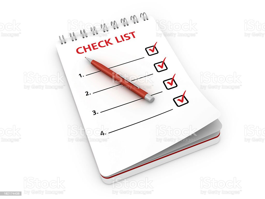 Notepad with Check List and Pen stock photo
