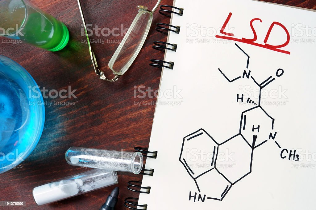 Notepad with chemical formula of LSD on the wooden table. stock photo