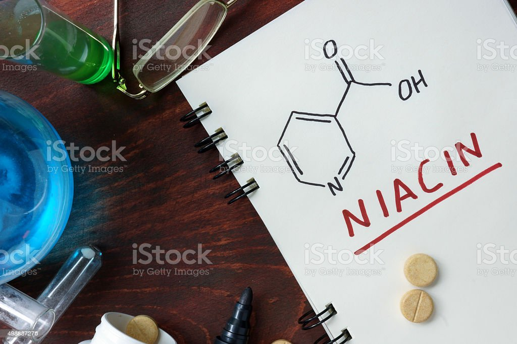 Notepad with chemical formula of  Niacin (vitamin b3). stock photo