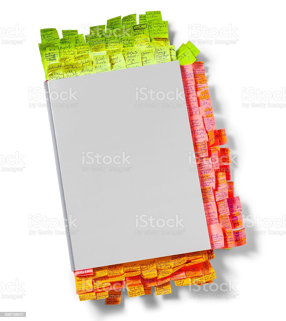Notepad with colorful post its stock photo