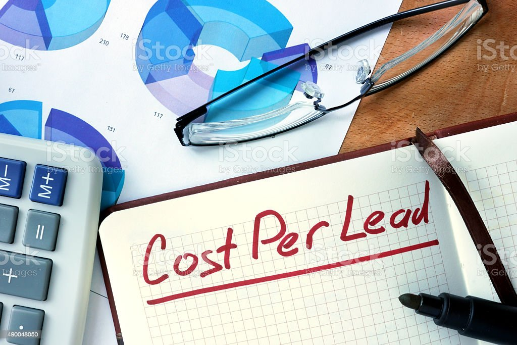 Notepad with Cost per lead CPL  on office wooden table. stock photo