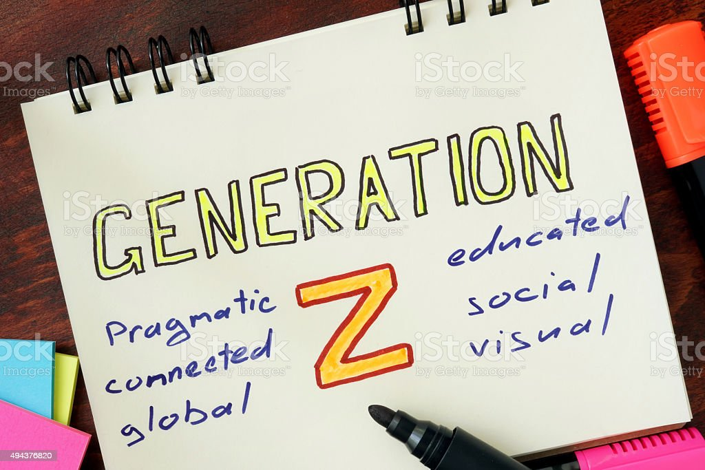 Notepad with generation z on the wooden table. stock photo