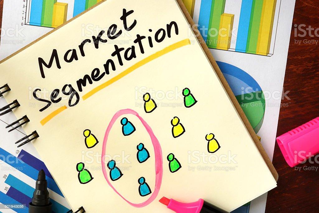 Notepad with market segmentation. stock photo
