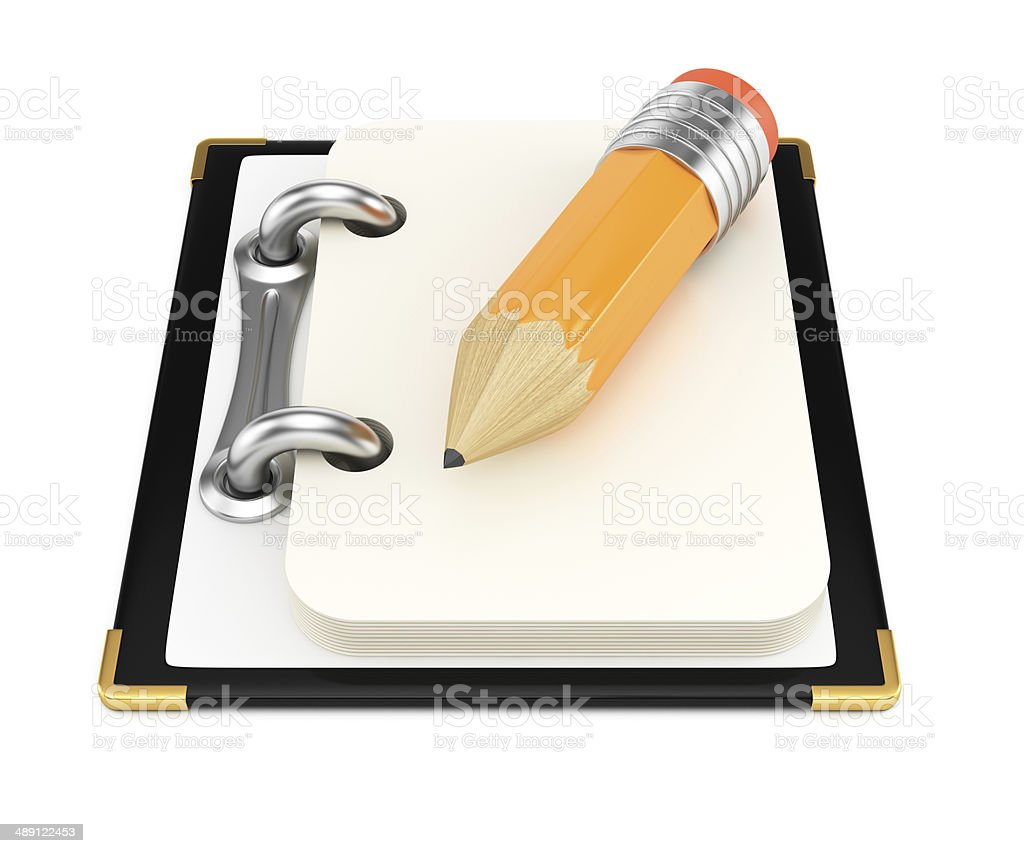 Notepad with pencil royalty-free stock photo