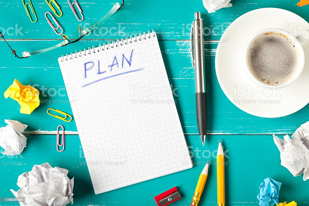 Notepad with plan concept stock photo