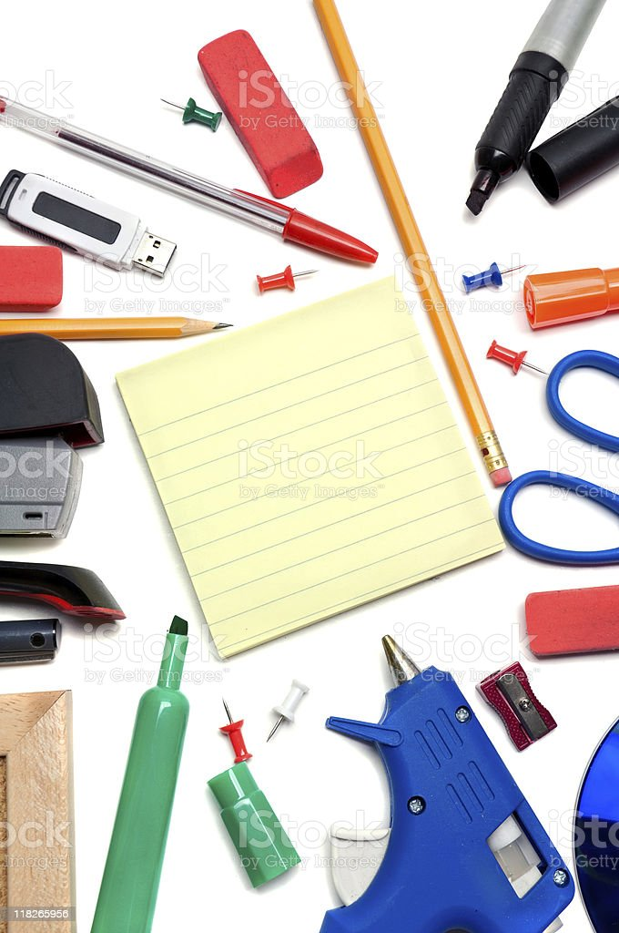 Notepad with School Supplies royalty-free stock photo
