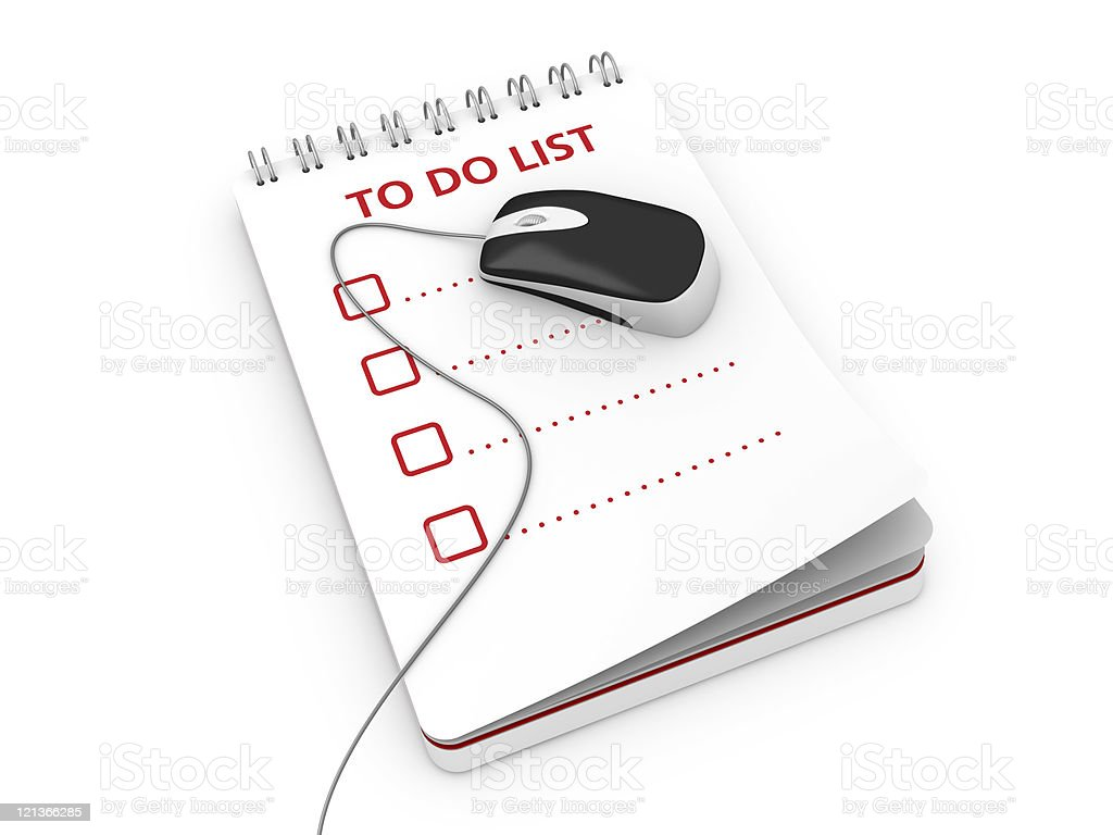 Notepad with To Do List and Computer Mouse royalty-free stock photo