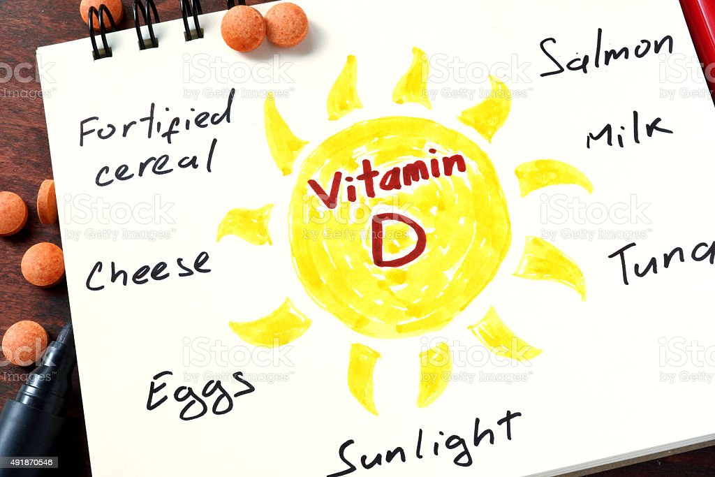 Notepad with vitamin d and pills on the table. stock photo
