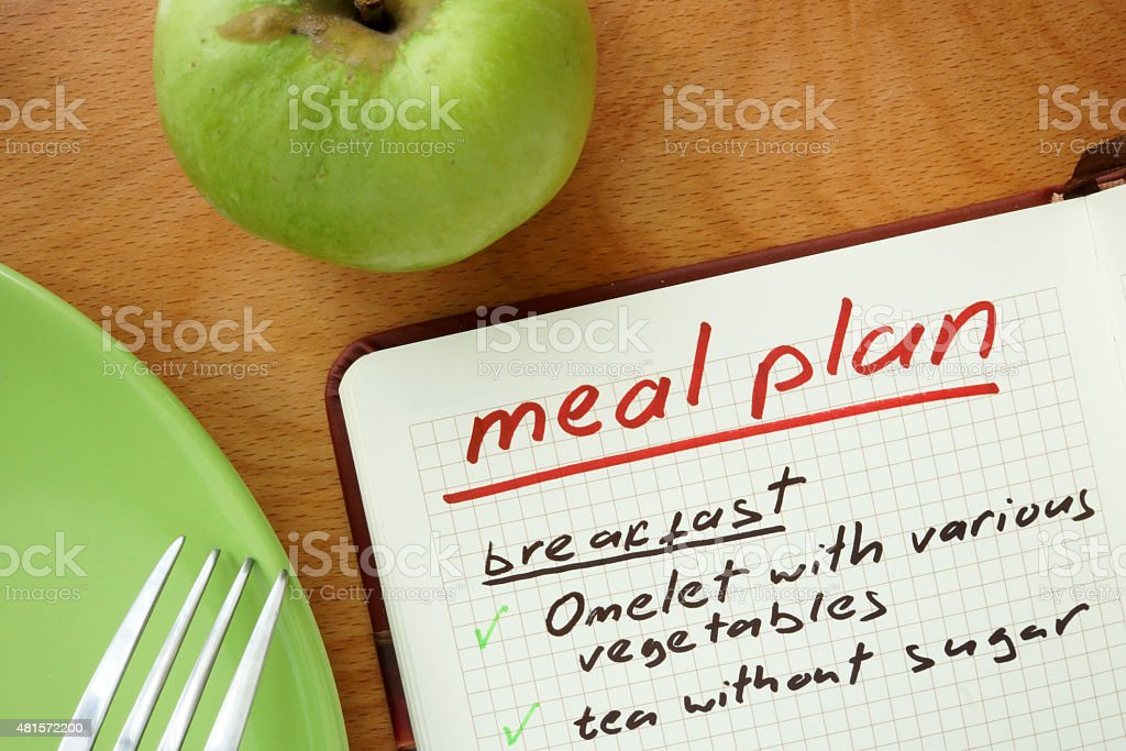 Notepad with words  meal plan with apple. stock photo