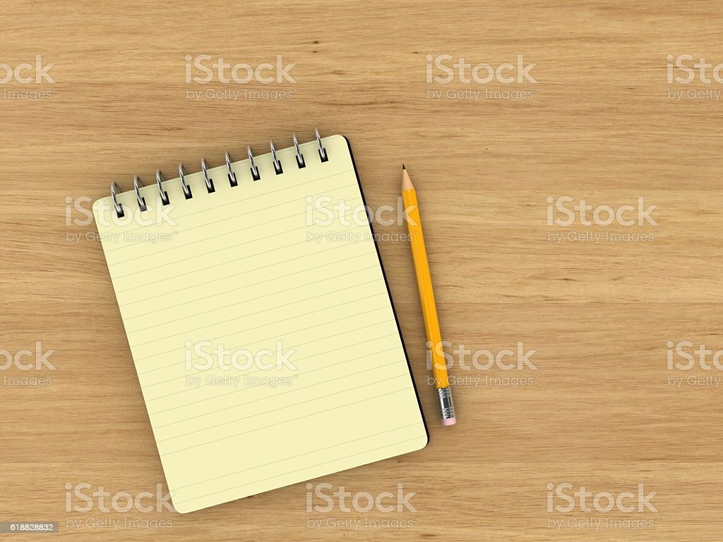 Notepad Wooden Desk Top View stock photo 618828832 | iStock