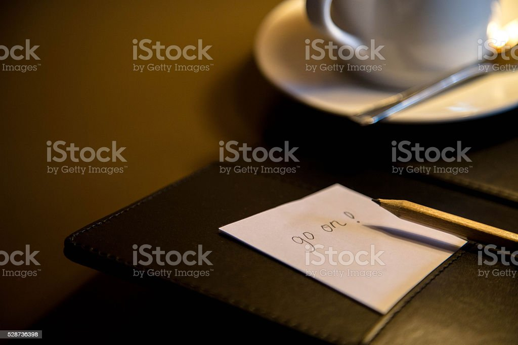 notepad,pencil and coffee cup stock photo