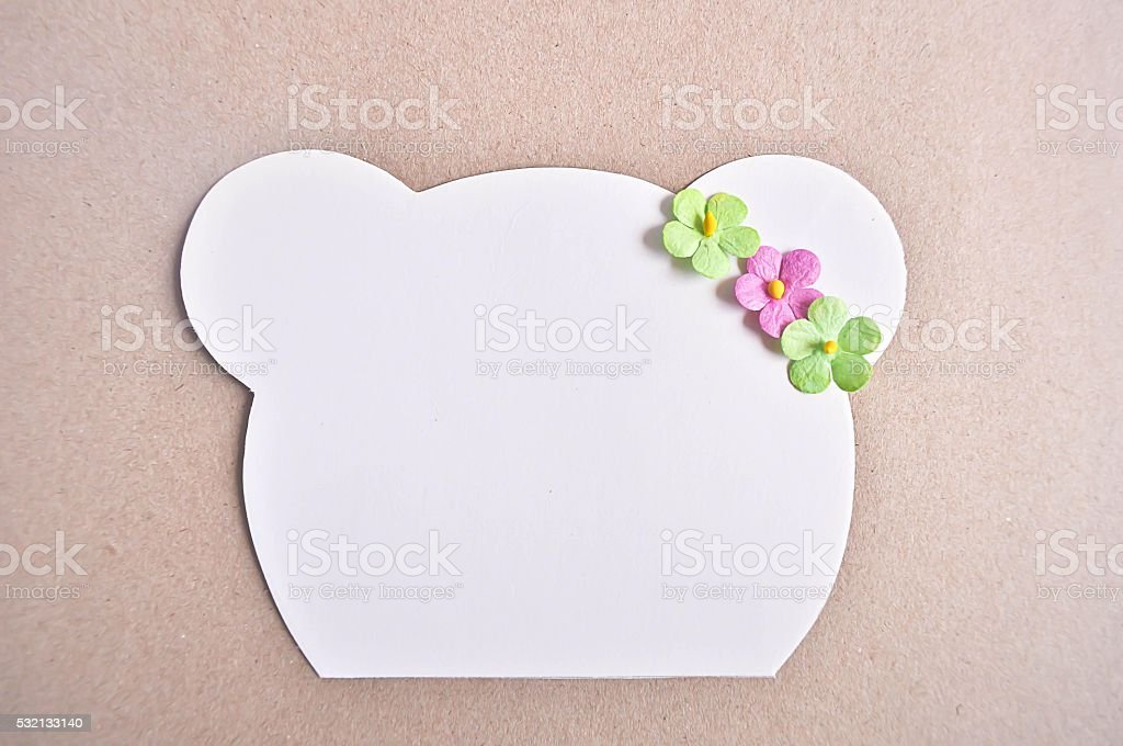 Notepaper with Bear cute stock photo