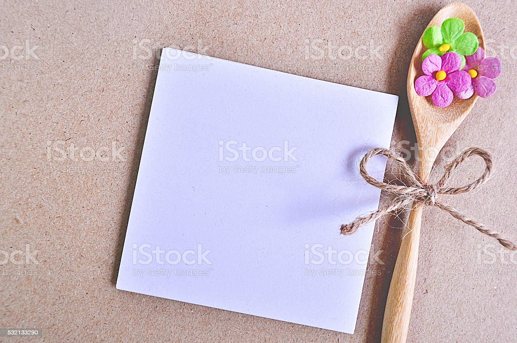 Notepaper with flower stock photo