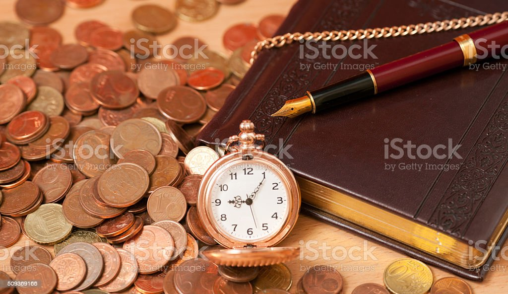 Notes and coins stock photo