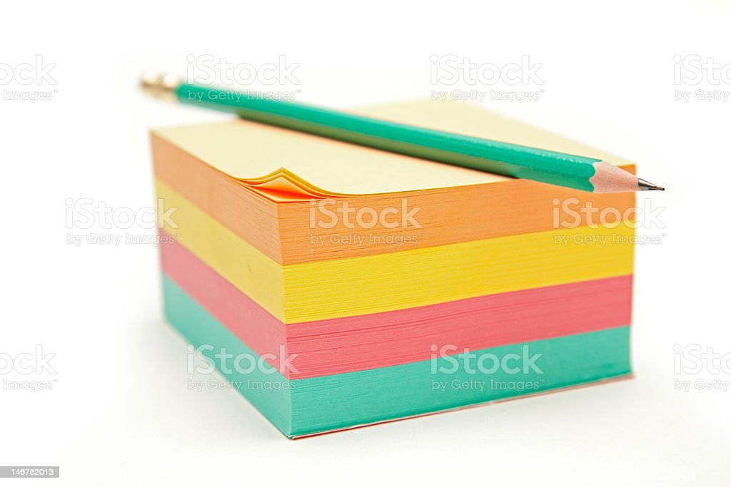 Notes block and pencil royalty-free stock photo