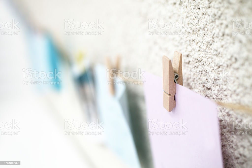 Notes hang on the wall stock photo
