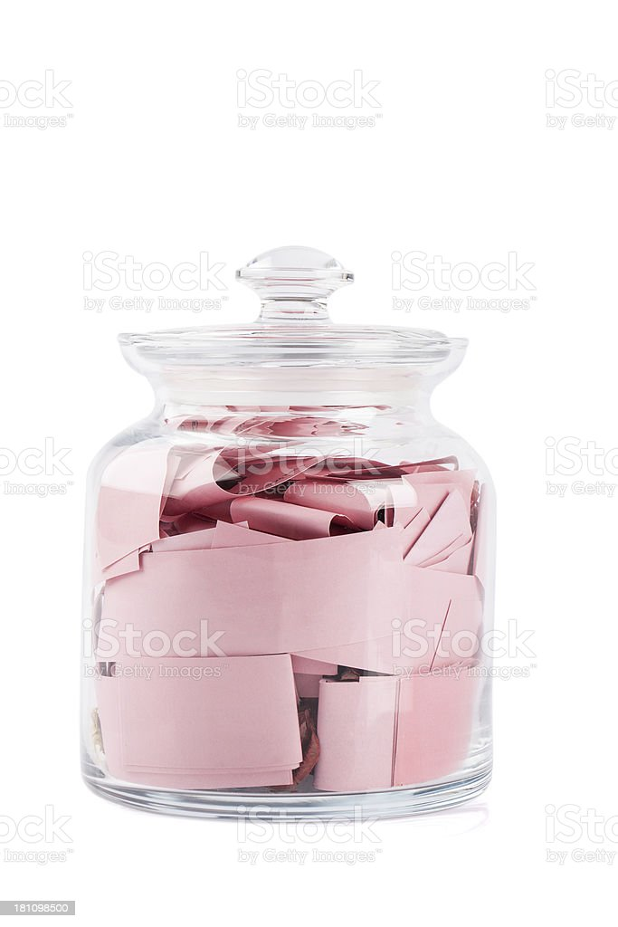 Notes in a Glass Jar stock photo
