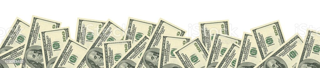 100$ notes isolated on white (clipping path included) stock photo